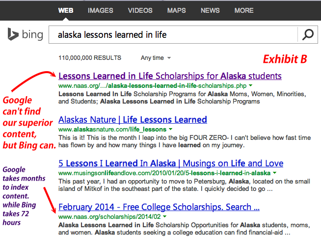 Google Failed Scholarship Searches